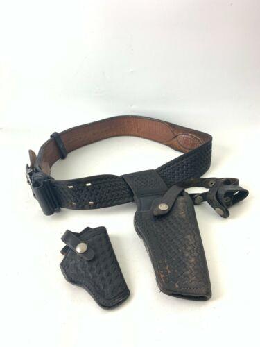 Leather Tex Shoemaker 50K Holster + Sheriff Police Safety Speed size 34 Belt