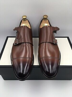 To Boot New York Adam Derrick Shoes Monk Strap Brown Leather 1444 Size 9.5