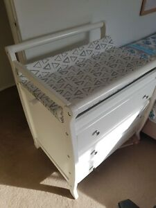 Sleigh style baby change table/ chest of drawers