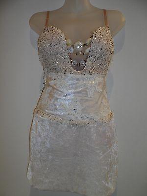 HANDMADE Body Suit Dress 34C Corset Dancer White Lingerie Beyonce Halloween SEXY