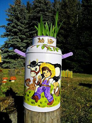Karaffe im Landhausstil Kanne mit Kuh Gießkanne Vintage Blechkanne Milchmotiv