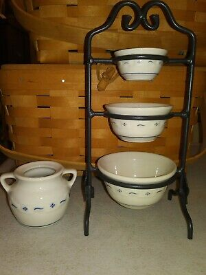 Longaberger Collectors Club Pottery Miniature Mixing Bowl Cookie Jar Iron Stand