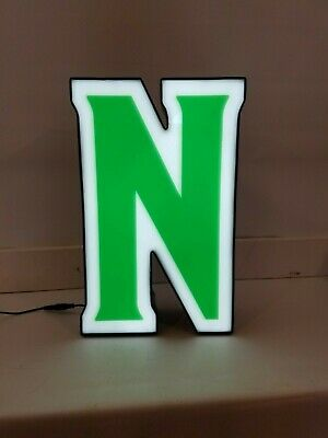 Letters Sign Channel Letter N Led Lights Signage Green And White