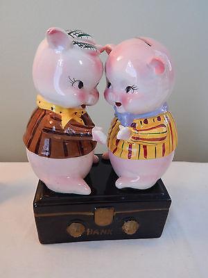 Vintage Holt Howard Double Piggy Bank Treasure Chest Bank