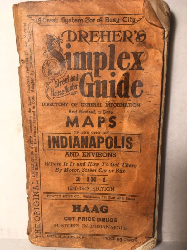 Vintage 1946-47 Dreher's Simplex Street & House Guide - Indianapolis Indiana