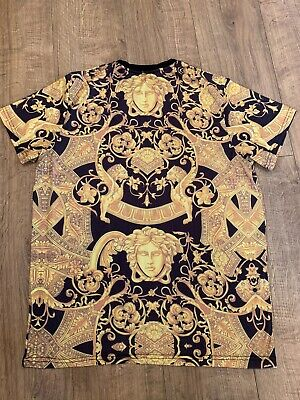 Versace Venetian Medusa Baroque Lions T Shirt Black and Gold RARE XXL 2XL