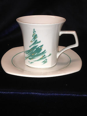 NIKKO JAPAN EVERGREEN CUP & SAUCER CHRISTMAS TREE  307 PINE GREEN QUADRILLE MUG Evergreen Cup