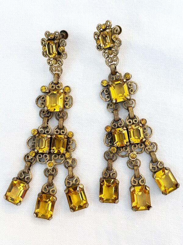 Vintage Antique Art Deco Czech Citrine Yellow Paste Glass Crystal Earrings