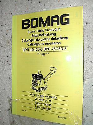 Bomag BPR 40 45 45D-3 PARTS CATALOG MANUAL BOOK Plate Compactor Vibratory HATZ