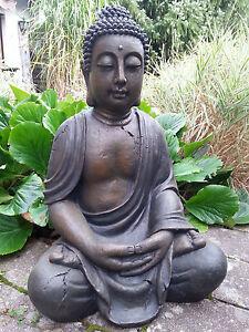 XL Großer Buddha sitzend braun ca. 70 cm Figur Feng Shui Skulptur Lotus ASIA NEU
