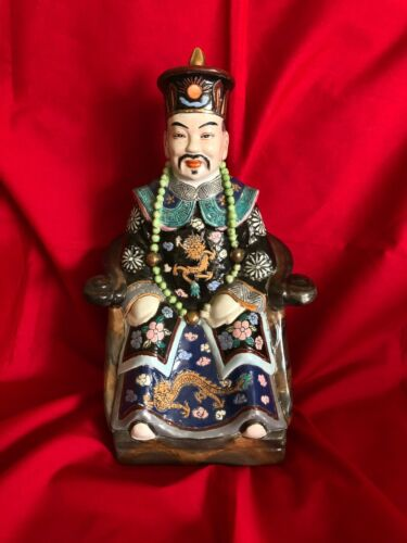 VERY RARE Hand Painted Ceramic Porcelain Vintage Chinese Emperor Sitting Statue