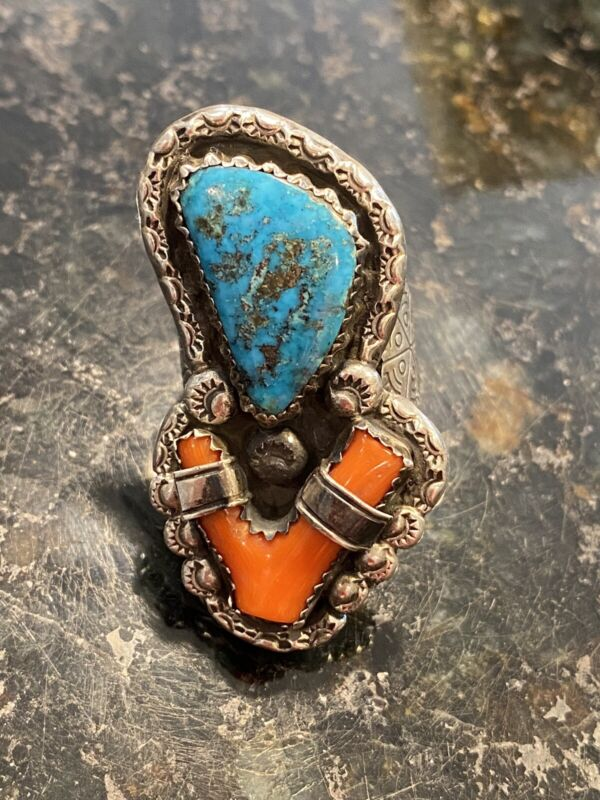 Southwest Native Vintage Silver Turquoise Branch Coral Ring 21.5g Sz 8.25