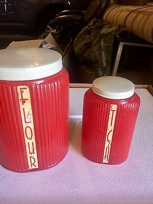 Fired On Red Flour and Tea Canister Canisters