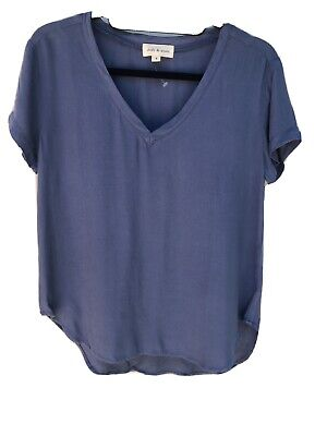 Anthropologie Cloth & Stone Short Sleeve small steel Blue T-shirt 100%Rayon NWOT