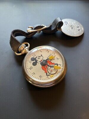 Original - Walt Disney - Mickey Mouse - Pocket Watch - 1933 W/ MICKEY MOUSE FOB!