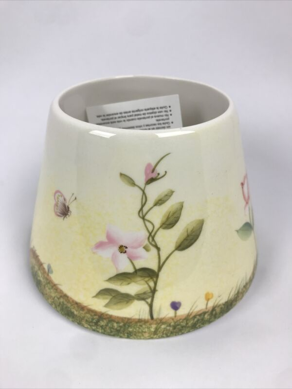 Home Interiors Cream Spring/Summer Flowers Candle Shade NIB