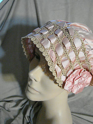 Vintage 20s PINK Satin Night Cap Boudoir Crochet Ribbon VGC Ecru Hat