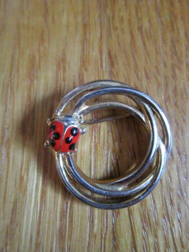 "Vintage Ladybug Pin Brooch Gold-Tone 1"" Triple Circle Jewelry FREE SHIP"
