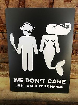 PIRATE We Don't Care Bathroom Sign, Black/White, 6