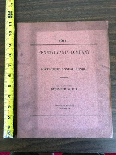 1914 Pennsylvania Company 43rd Annual Report Railroad Map