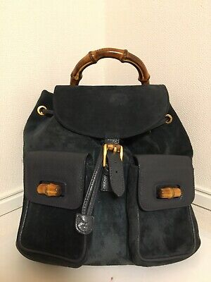 💯Authentic Vintage Gucci Suede Navy leather Bamboo handle medium backpack
