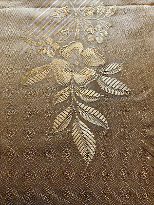 Vintage Damask Yellow Linen Tablecloth With Floral And Stripe Pattern. Elegant