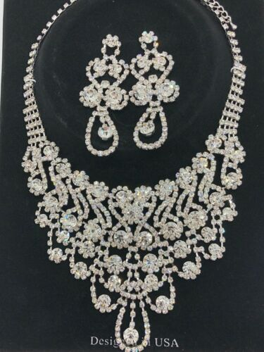 Bridal Necklace Earring Ball Pageant Formal Set Clear Rhinestones 18 Inch S155