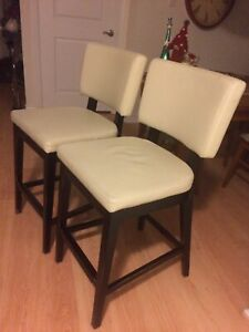 White leather counter height stools