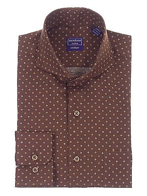 Mens Regular Fit Brown Circle Dot Pattern Cutaway Collar Cotton Dress Shirt Cotton Dotted Pattern Dress Shirt
