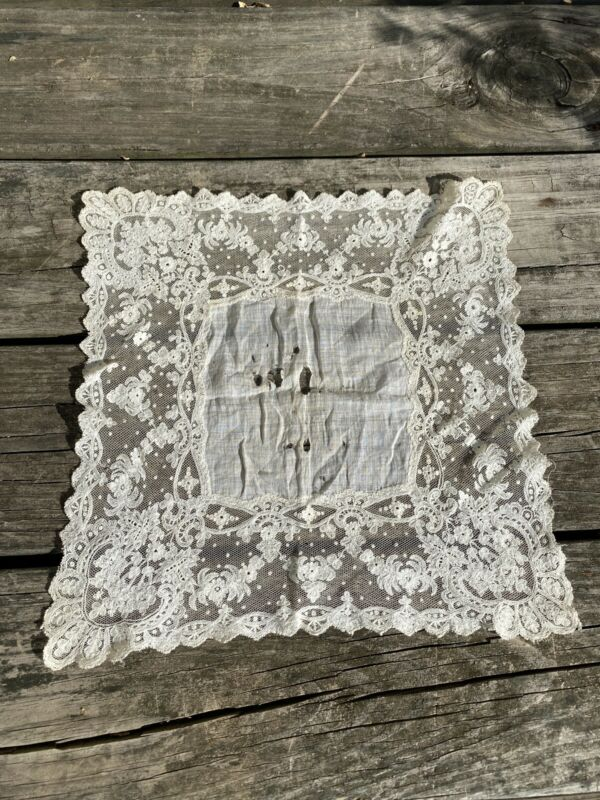 Handmade Antique Bridal Embroidered Handkerchief Hanky Floral Lace Wedding