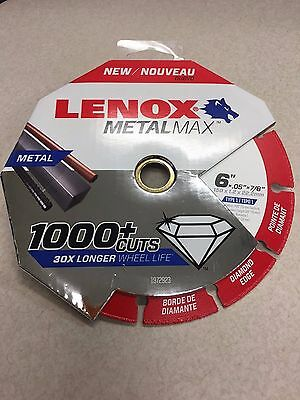 "Lenox 1972923 Metal Max Diamond Edge Cutoff Wheel 6"" x.05 x 7/8""METALMAX"