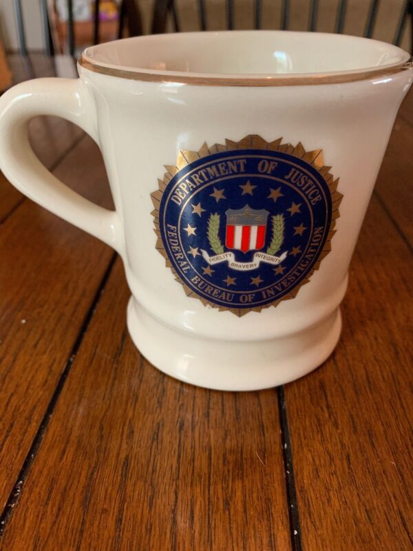 Department Of Justice FBI Mug. Off White With Gold Trim