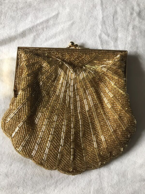VTG Yellow Gold Beaded Evening Clutch Purse Clasp Optional Chain Elegant Dainty