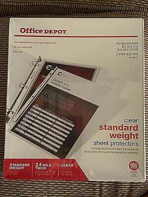 Office Depot Standard Weight Sheet Protectors 8 12 X 11 Clear 100 Pack