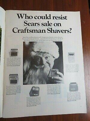 Vintage Sears Craftsman Shavers Print Ad November 1967 Santa Claus #2830