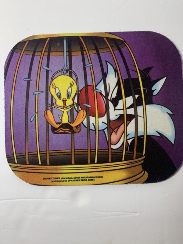 Vintage Tweety Bird Sylvester Fabric Mouse Pad Looney Tunes Warner Brothers 1994