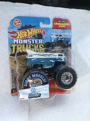 HOT WHEELS MONSTER TRUCKS VW DRAG BUS W/CRUSHABLE CAR NIP 2020- FREE SHIP