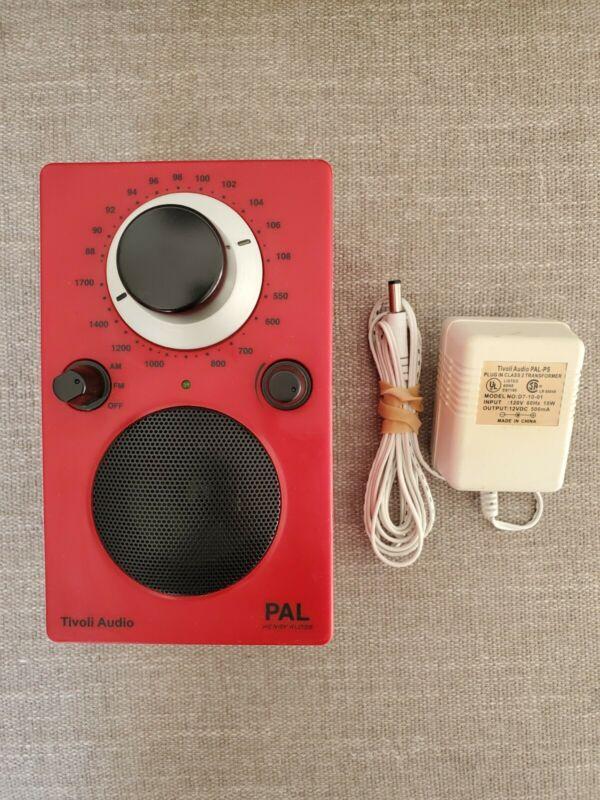 Tivoli Audio PAL Radio Henry Kloss w/AC Adaptor GWO red black