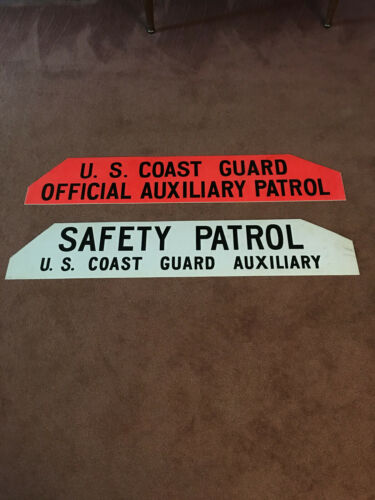 """LARGE VINTAGE US COAST GUARD  AUXILIARY PATROL TWO SIDED SIGN 48"""" X 9"""""""