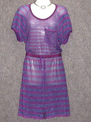 OSKLEN Purple Sheer Turquoise Striped Sparkly Romper Short SZ M ()