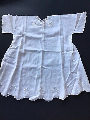 Antique Baby Dress Handmade White Cotton Lawn Fabric Embroidered for sale  Shipping to India