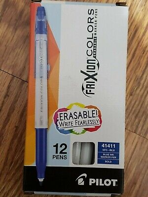 Pilot Frixion Colors Erasable Marker Pen Bold Point Blue Ink Box Of 12 New