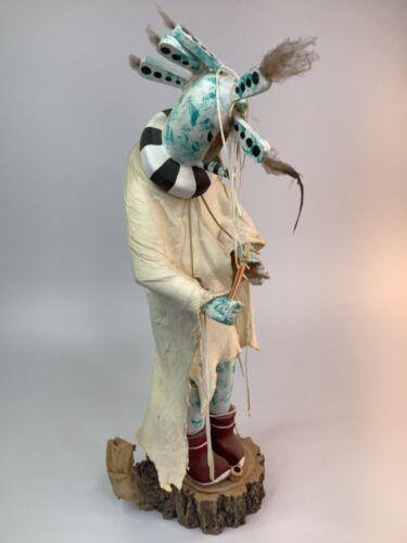 """20"""" Large Kachina Doll KOKOPELLI Handmade Carved Wood -signed SANDOVAL Navajo"""