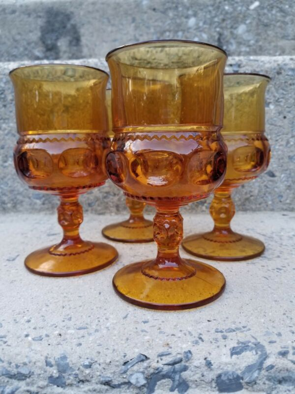 Vintage Indiana Glass Amber Kings Crown Thumbprint Glass Goblets Set Of 4