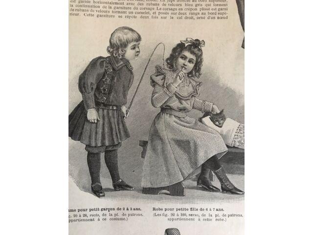French MODE ILLUSTREE SEWING PATTERN Nov 13, 1898 DOLLS , CHRISTMAS TREE ORNAMENTS