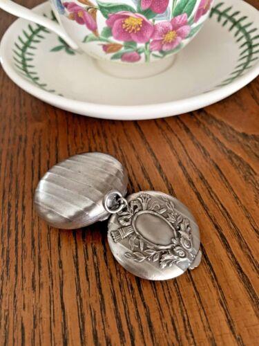 French Victorian Silver Plate Pill Snuff Mirror Box Laurel Ribbon Louis Pendant