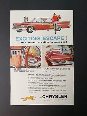 1959 Chrysler Lion-Hearted to the Open Road - Original Full Page Vintage Ad