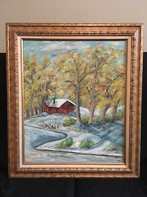 Vintage 1992 Oil On Canvas Painting Red Cabin In The Woods By Pauline O'Malley - Painting Cabin In The Woods