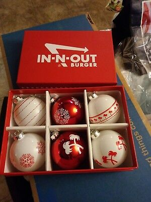 6 in n out burger xmas ornaments and storage box
