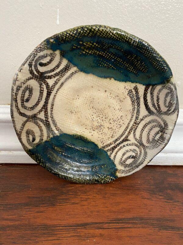 Vintage Japanese Glazed  Oribe Plate